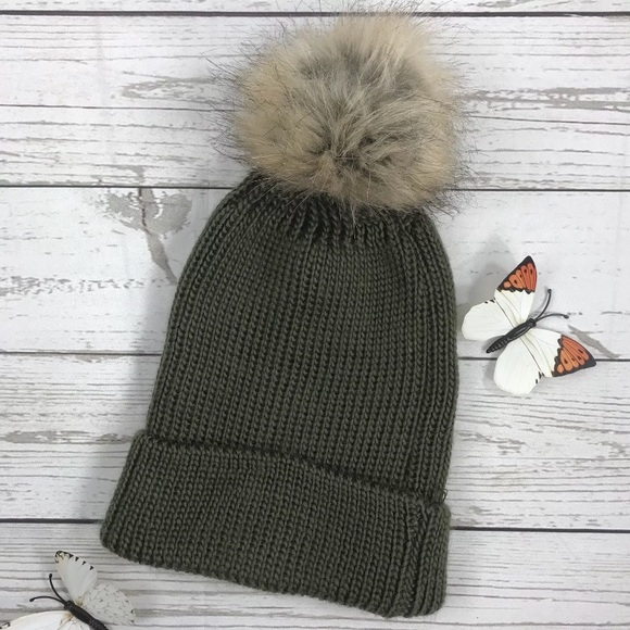 28194dd65 🦋 Olive Green Puff Ball Winter Hat One Size